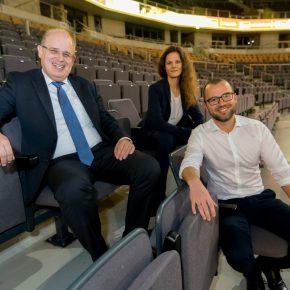 Seit 2017 das neue Führungstrio in Oberhausen: Henrik Häcker (General Manager), Stephanie Baudler (Director Events), Stephan Ulm (Stellv. Geschäftsleiter)
